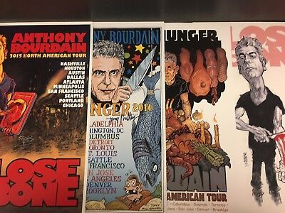 Set of 4 Anthony Bourdain Artist Signed Tour Posters