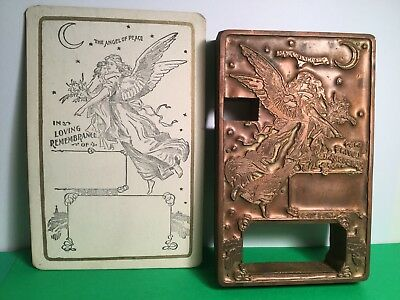 Antique Art Nouveau Angel Printers Block W/cabinet Card In Loving Rememberance
