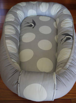 Baby nest 100% cotton, baby bedding, co sleeper, Grey, Crib Nursery, travel bed