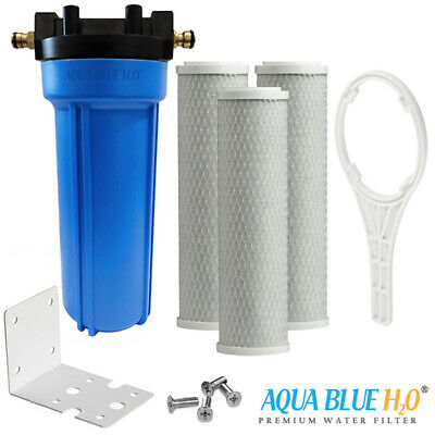 """3X Carbon Filter with 10""""x2.5"""" Single Caravan Water Filter System Whole Kit"""