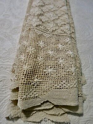 Stunning Antique  Handmade Ecru BELGIUM Needle Lace Tablecloth 64 X 60