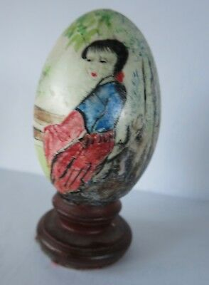 ANTIQUE Chinese Egg Japanese Asian Oriental Hand Painted LADY WATERCOLOR