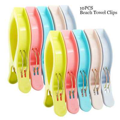 Pack of 10 Large Bright Colour Plastic Beach Towel Pegs Clips to Sunbed tools N