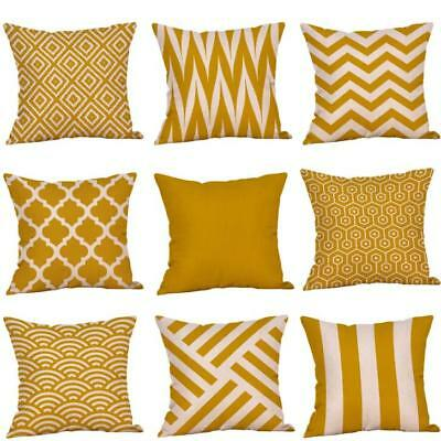 Mustard Pillow Case Yellow Geometric Fall Autumn Cushion Cover  Decorative