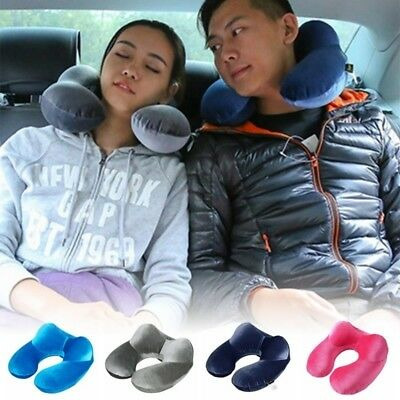 Portable Inflatable U Shaped Travel Neck Rest Pillow Flight Head Rest Cushion