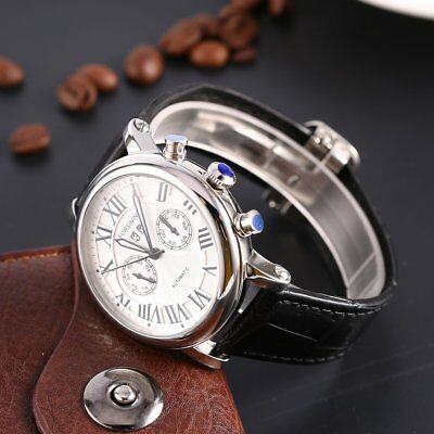 Fully Automatic Mechanical Business Vintage Roman Numeral Dial Men's Watch YD