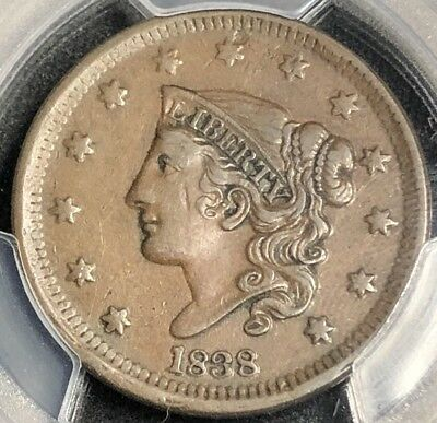 1838 1C Cornet Head Large Cent (PCGS XF45) VT8895LW