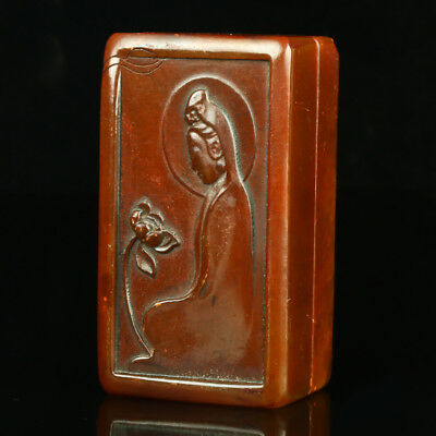 Chinese Natural Shoushan Stone Hand Carved Kwan-yin Seal AFM0078