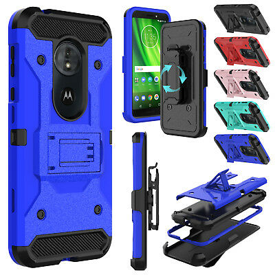 For Motorola Moto G6 Play Hybrid Shockproof Armor TPU Hard Kickstand Case Cover