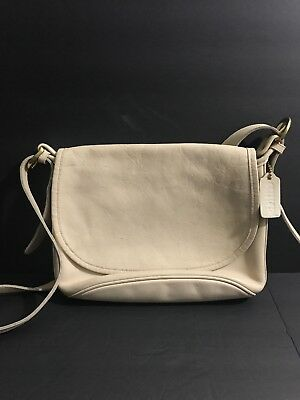 7120229f230a Vintage Coach Fletcher Bag Beige Leather Cross Body Flap Purse 4150 USA  Made EUC