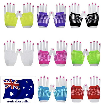fishnet gloves party 70's 80's short fingerless neon womens glove disco costume
