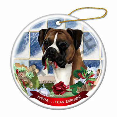 Boxer Fawn Uncropped Howliday Porcelain Dog Christmas Ornament H2