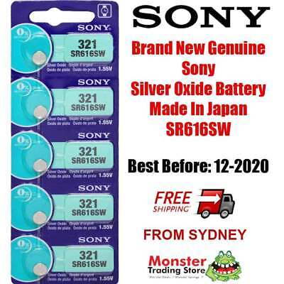 5 Pcs Sony Sr616Sw 321 1.55V Silver Oxide Battery Made In Japan Use By: 12/2020