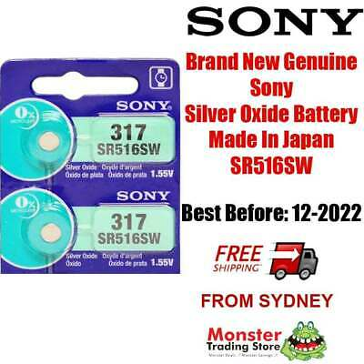 2 Pcs Sony Sr516Sw 317 1.55V Silver Oxide Battery Made In Japan Use By: 12/2020