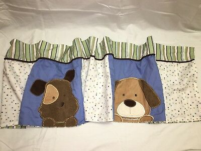Puppy Window Valance By Carter's Green Blue Brown Striped