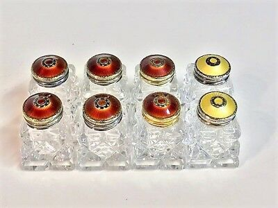 8 Hroar Prydz Norway~Sterling Guilloche  Enamel Crystal Salt & Pepper Shakers