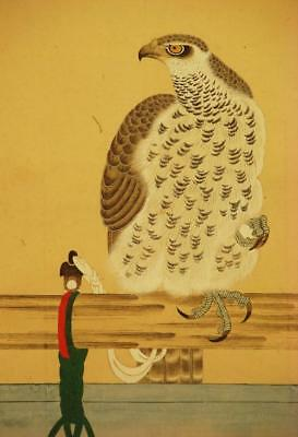 """JAPANESE HANGING SCROLL: Antique """"Hawk on Perch"""", late 1800's, Meiji Period"""