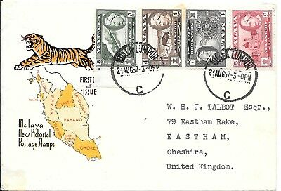 MY2) Malaya 1957 Malaya New Pictorial Postage Stamp Map and Tiger cachet