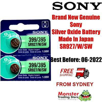 2 Pcs Sony Sr927Sw /w 399 / 395 1.55V Silver Oxide Made In Japan Use By: 01/2021