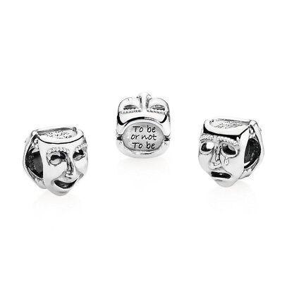 PANDORA Silver Theater Mask791177 NWOT DISCONTINUED