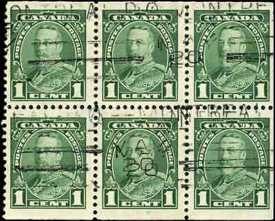 Canada #217b used F-VF 1935 Pictorial 1c King George V Pictorial BKLT Pane of 6
