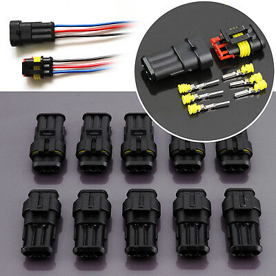 10 Sets 3 Pin Way Car Auto Wire Superseal Electrical Waterproof Connector