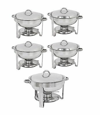 New Stainless Steel Chafer 5 Pack Round Chafing Dish Sets 5 QT Dinner Serving