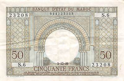 Morocco  50  Francs   2.12.1949   P 21   Series  S.6  Circulated Banknote