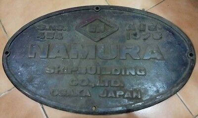 Vintage Ship/Engine Builder Brass ORIGINAL Plaque/Plate NAMURA 1978