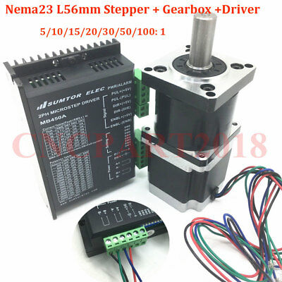 Planetary Geared Head NEMA23 Stepper Motor 1.1NM 3A 4-Wire+DC24~50V Motor Driver