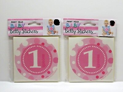 2- First Year Baby Belly Stickers PINK Girl Months 1-12 Polka Dot design TWINS