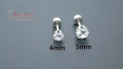 G-1.0mm | Stainless Steel Round CZ Tragus Cartilage Conch Helix Ear Stud (one)