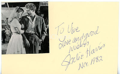 1982 CINEMA Attrice Julie HARRIS - AUTOGRAFO su cartoncino 15x9 cm