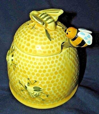 Golden Yellow Honey Hive Pottery Canister Pot w/ Spoon Bumble Bee Finial 11CmT