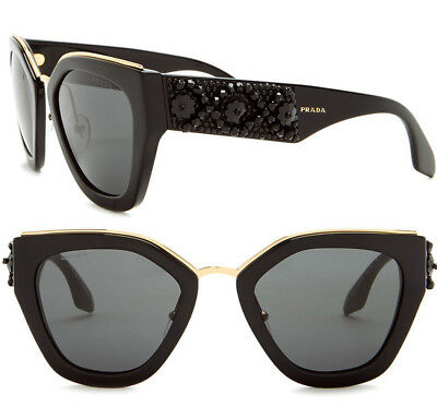2cd45cc628 NWT Prada Women s Geometric Sunglasses PR10TS 1AB580 52 Black Made In Italy