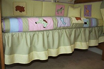 NEW cotbed/cot dust ruffle/skirt (nursery baby bedding) jungle animals design