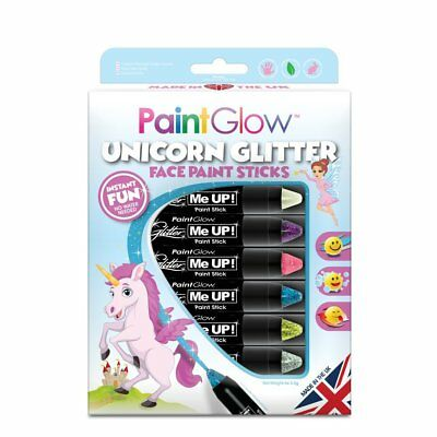 Paint Glow Unicorn Glitter Face Paint Body Make Up Sticks Crayon Kit Festival
