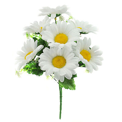 ARTIFICIAL SILK FLOWERS DAISY BUNCH WHITE Weddings Home Grave