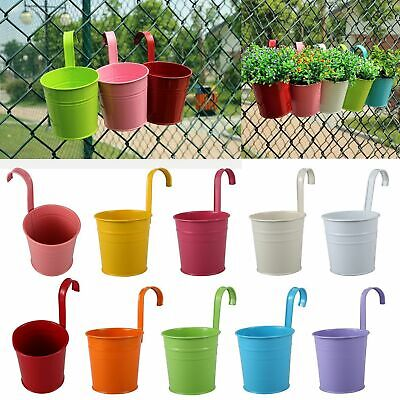 10x Garden Metal Flower Pots Wall Hanging Tin Basket Bucket Plant Herb Planter G