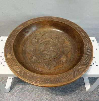 Antique Hand Carved Decorative Wood Bowl