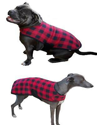 Dog Coat Red Fleece Check XL 2XL Adjustable Jacket Staffy Whippet Bull Terrier
