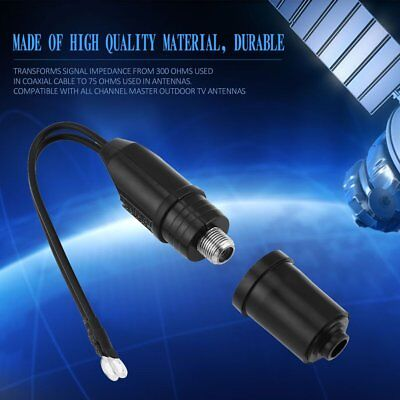 Outdoor Antenna 300 To 75 Ohm Coaxial Cable Matching Transformer UHF/VHF/FM