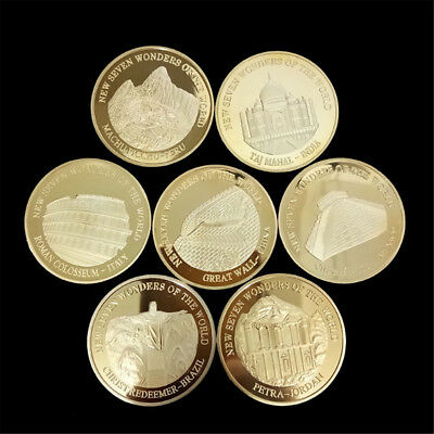 1pc Gold Coin Seven Wonders of the World Commemorative Coin Collection Decor