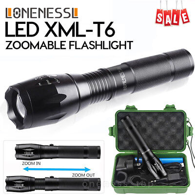 AU Military 5000LM XM-L T6 LED Rechargeable Flashlight Zoomable Hunting Torch