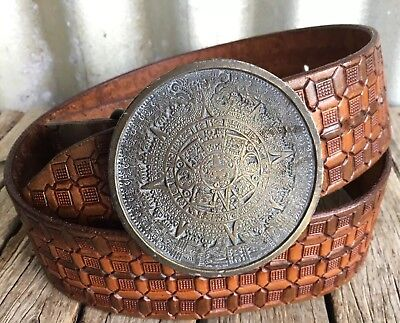 VINTAGE Awesome TOOLED LEATHER BELT Solid Brass AZTEC CALENDAR BUCKLE Mexican