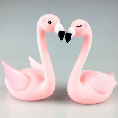 1pc Couple Flamingo Figurine Cake Topper Car Home Room Ornament Decor Gifts Pink