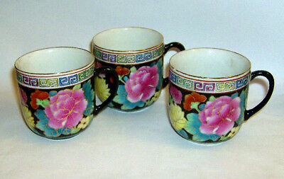 THREE HAND painted Chinese COFFEE CUPS ( Floral on black background pattern )