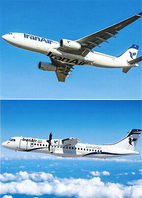 2 AK Airliner Postcard IRAN AIR Airbus A330 & ATR 72