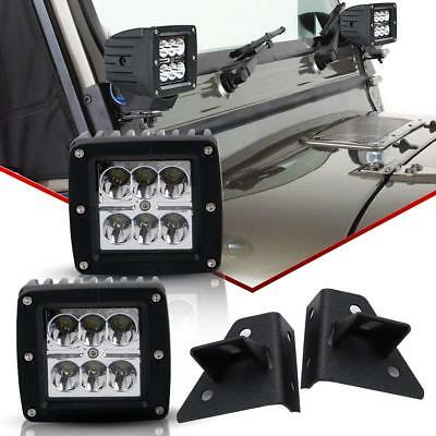 "3"" LED Fog Light Pods w/ Bumper Mount Brackets 2003-09 Dodge Ram 1500 2500 3500"
