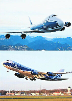 2 AK Airliner Postcard AIR BRIDGE CARGO Boeing 747